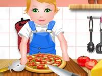 Baby Juliet Cooking Pizza