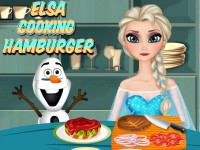 Elsa Cooking Hamburger